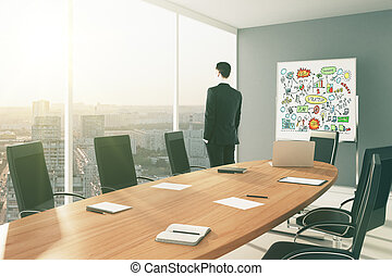 Buisnessman in conference room with blackboard at sunrise