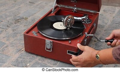 Vintage records on the gramophone