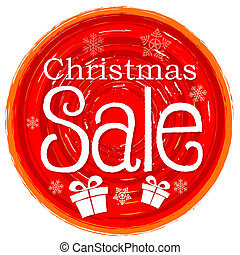 christmas sale and gift box on circular drawn red banner with snowflakes