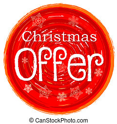 christmas offer on circular drawn red banner with snowflakes