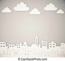 Paper megapolis city layout with clouds