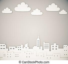 雲, 都市,  megapolis, ペーパー, レイアウト