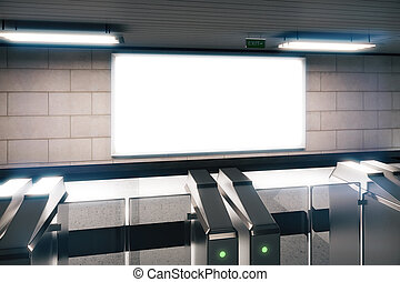 Blank white billboard in a subway, mock up