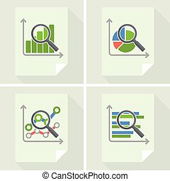 Magnifying glass and chart on white