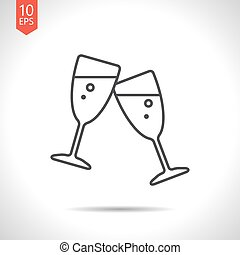 Vector stemware icon - Vector gray stemware icon on white...