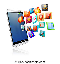 3d smart phone and colorful icons
