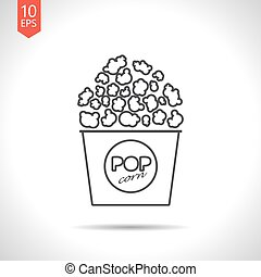 Vector pop corn icon - Vector gray pop corn icon on white...
