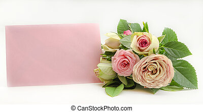 Greeting card with natural roses