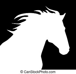 HorseLogo - Black and white illustration of horse head