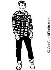 vector sketch of a young man in a plaid shirt - black and...
