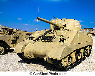 US Sherman Tank M4A3 with 105mm fire support on display at...