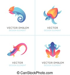Set of logo design templates in bright gradient colors -...