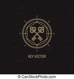 Abstract emblem in trendy linear style with key icon -...