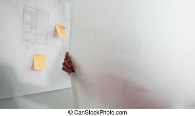 Young Architect College Student Doing Homework Drawing...