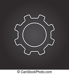 Vector cogwheel icon - Vector white cogwheel icon on dark...