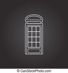 Vector telephone box icon - Vector white telephone box icon...