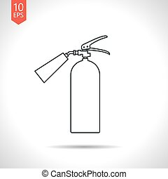 flat fire extinguisher - Vector outline classic grey fire...