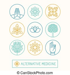 Design templates and icons in trendy linear style - holistic...