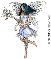 Snowflake Butterfly Fairy - Fantasy illustration of a pretty...