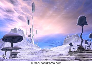 Frozen Alien Landscape Pink Sky - Science fiction...