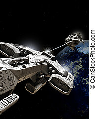 Outer Space Battle - Science fiction illustration of two...