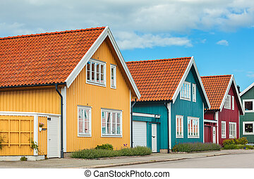 Ancient wooden houses in Karlskrona, Sweden - Ancient...