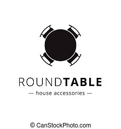 Vector minimalistic black round table with chairs logo. -...