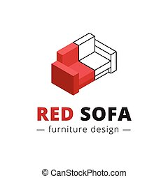 Vector trendy isometric red sofa logo. Brand sign