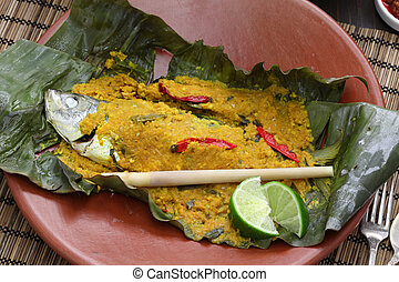ikan pepes, indonesian cuisine, steamed fish wrapped in...