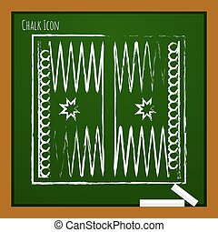 Vector outline icon - Vector chalk drawn doodle backgammon...