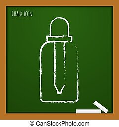 Vector outline icon - Vector chalk drawn doodle dropper...