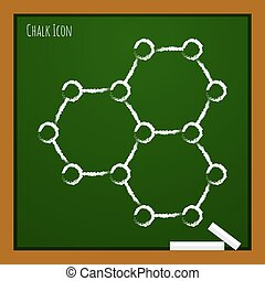 Vector outline icon - Vector chalk drawn doodle graphene...