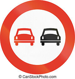 Norwegian regulatory road sign - No overtaking