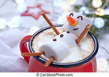 Hot chocolate with melted snowman - Red mug with hot...
