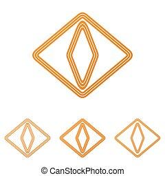 Orange cat eye logo design set
