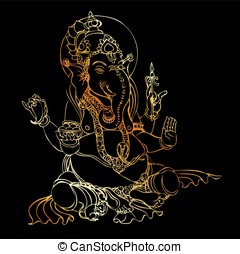 Illustration of golden ganesha