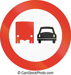 Norwegian regulatory road sign - No overtaking for trucks
