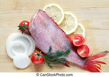 Raw Fish For Cooking - Raw grouper ready for cooking near...