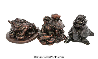Frog, Dragon-turtle and Turtle Feng Shui on white...