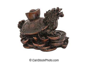 pesos, Prosperidad, éxito, símbolo,  China,  dragon-turtle