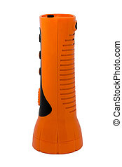 Orange Electric Pocket Flashlight on white blackground