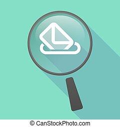 Long shadow magnifier vector icon with a ballot box -...