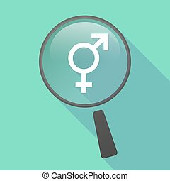 Long shadow magnifier vector icon with a transgender symbol...