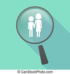 Long shadow magnifier vector icon with a childhood pictogram...
