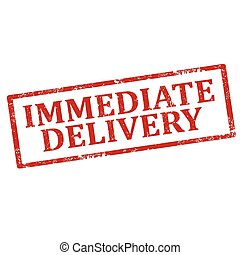 Immediate Delivery-stamp - Grunge rubber stamp with text...