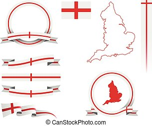 England Banner Set - Set of vector graphic ribbons and...