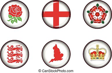 England Glossy Icon Set - Set of vector graphic glossy...