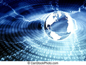 Global Networking - Illustration of global information...