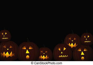 halloween jack-o-lanterns in dark