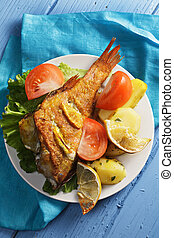 Baked rockfish above view - Baked rockfish with potatoes and...